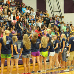 Orientation Counselors lead cheers during the 2013 Freshmen Ignite Assembly.