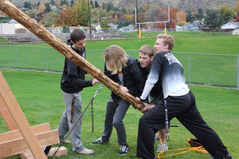 Shop class launches pumpkins 75 yards with trebuchet