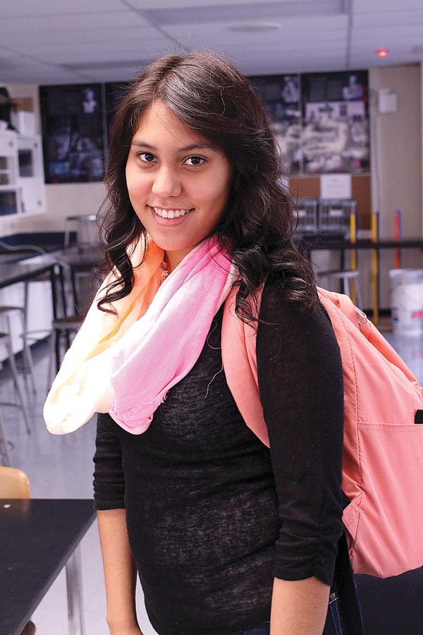 Junior+Brenda+Onofre+sports+a+pink+scarf+in+her+trending+outfit+of+the+month.+