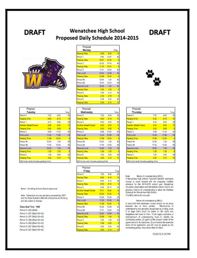 A+draft+of+the+schedule+that+was+approved+by+Wenatchee+High+School+staffers.+The+decision+will+now+move+to+the+district+office.+