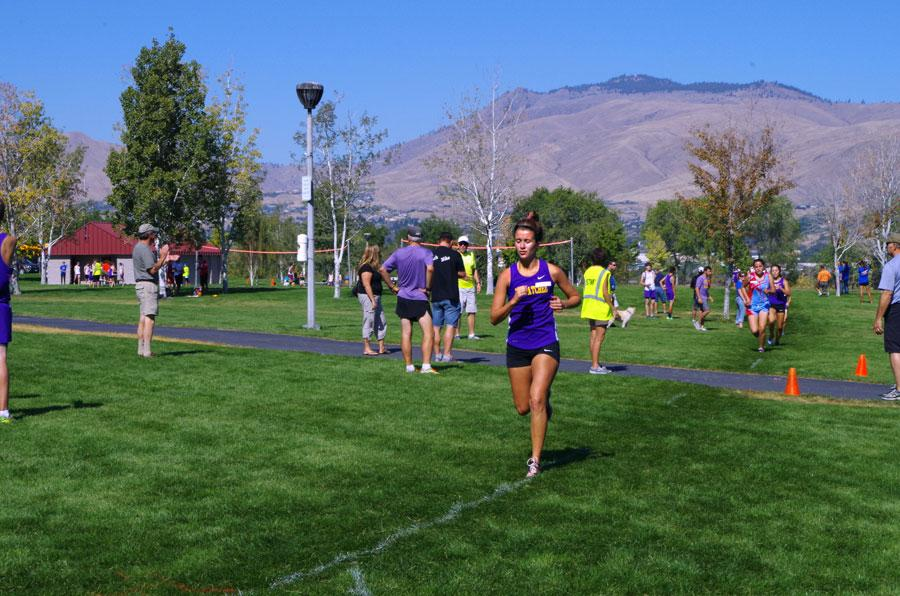 Junior Savannah Brass competes in the Wenatchee Invite Sept. 20. Wenatchee placed first overall in the meet, out of six teams.