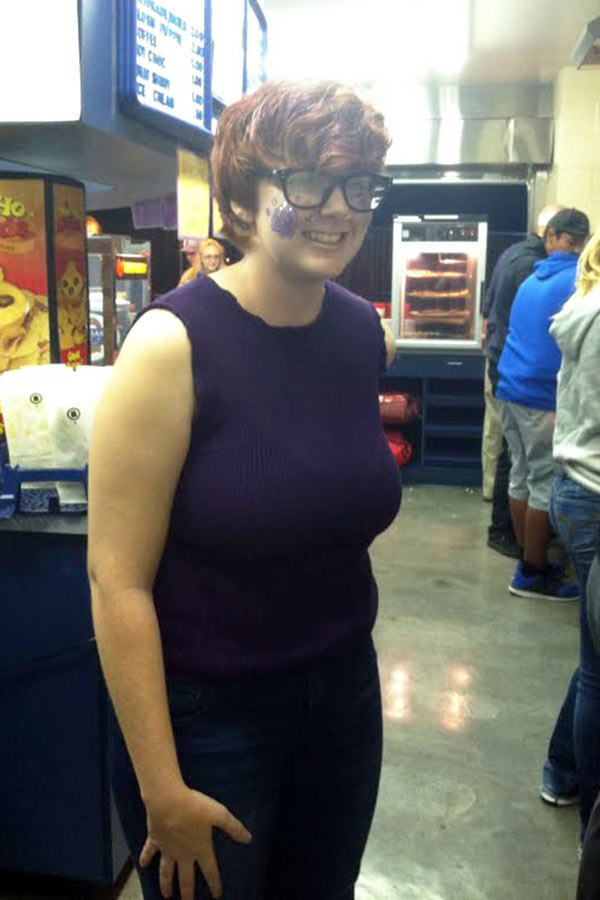 Freshman Kenya Emerson hangs out in the concessions stand.